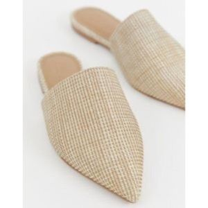 ASOS Lorne Jute Pointed Mules in Natural Size 8